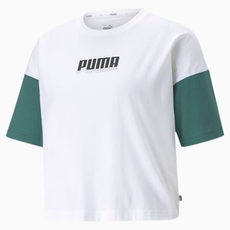 Rebel Fashion Women's Relaxed T-shirt, Puma White, small-IND