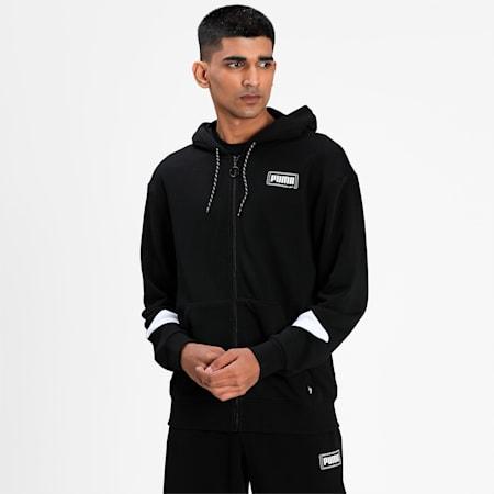 Rebel Full-Zip Men's Hoodie, Puma Black, small-IND