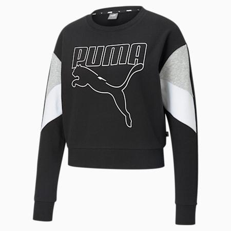 Rebel Crew Neck Women's Sweater, Puma Black, small-IND