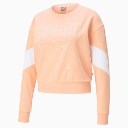 Rebel Crew Neck Women's Sweater, Apricot Blush, small-IND