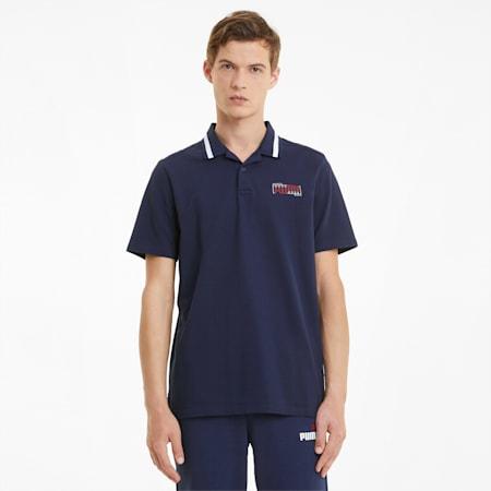 Athletics Men's Polo Shirt, Peacoat, small-SEA