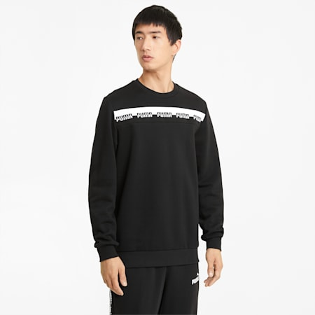 AMPLIFIED Crew Neck Men's Sweatshirt, Puma Black, small