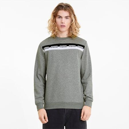 AMPLIFIED Crew Neck Men's Sweatshirt, Medium Gray Heather, small
