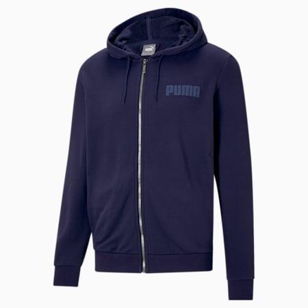 Modern Basics Full-Zip Men's Hoodie, Peacoat, small-IND