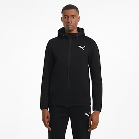 Evostripe Full-Zip Men's Hoodie, Puma Black, small-SEA