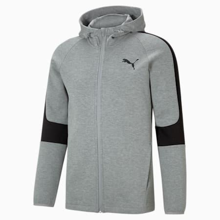 Evostripe Full-Zip Men's Hoodie, Medium Gray Heather, small