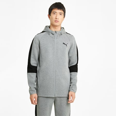 Evostripe Full-Zip Men's Hoodie, Medium Gray Heather, small