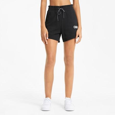 Rebel High Waist Women's Shorts, Puma Black, small-SEA