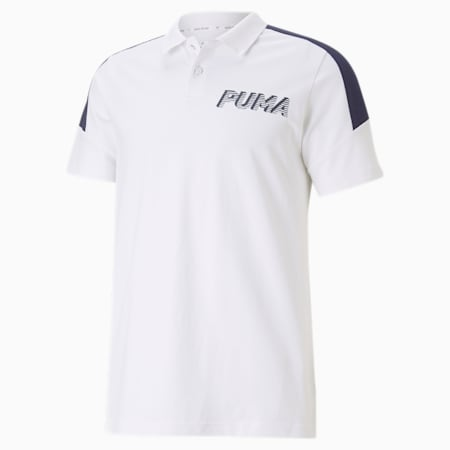 Modern Sports Men's Polo Shirt, Puma White, small-SEA
