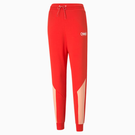 Rebel High Waist Women's Relaxed Pants, Poppy Red, small-IND