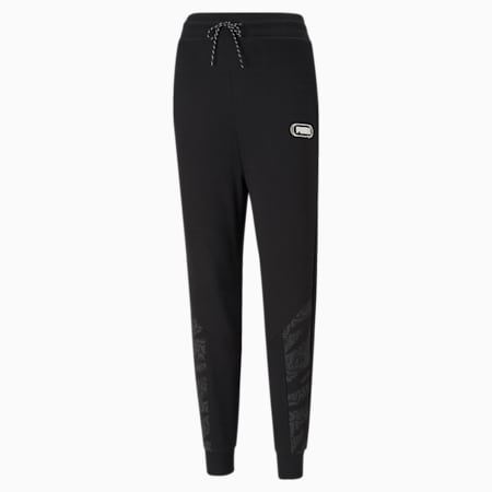 Rebel High Waist Women's Relaxed Pants, Puma Black-Untamted, small-IND