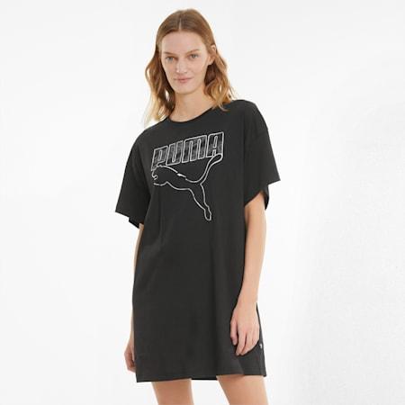 Rebel Damen T-Shirt-Kleid, Puma Black, small