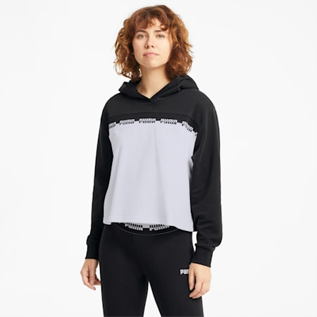 Amplified Cropped Women's Hoodie, Puma Black, small-SEA
