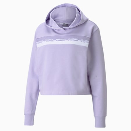 Amplified Cropped Women's Hoodie, Light Lavender, small