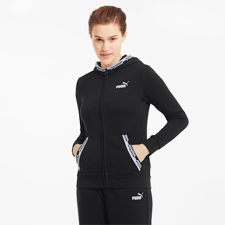 Amplified Full-Zip Women's Hoodie, Puma Black, small-SEA