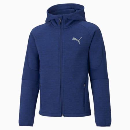 Evostripe hoodie met volledige ritssluiting jongeren, Elektro Blue, small