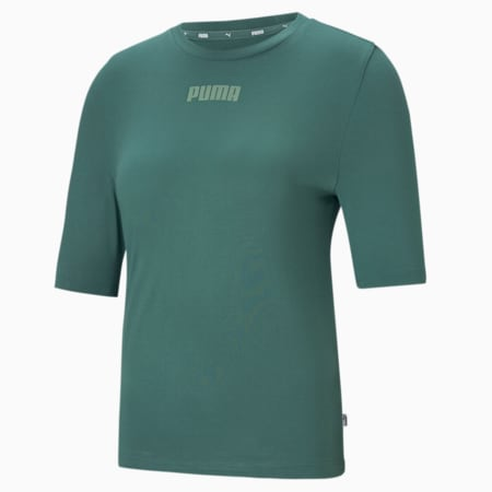 Modern Basics Women's Slim T-shirt, Blue Spruce, small-IND