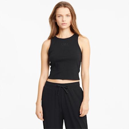 Camiseta acanalada sin mangas para mujer Modern Basics, Puma Black, small