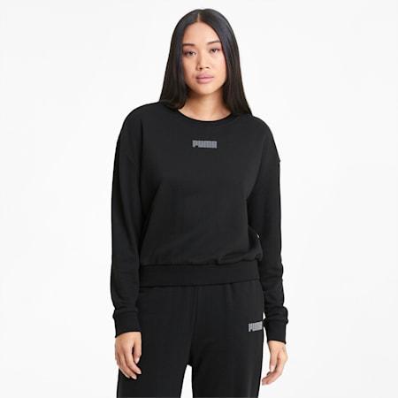 Modern Basics Damen Sweatshirt mit Rundhalsausschnitt, Puma Black, small