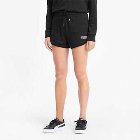 Moderne Basics Damen Shorts mit hohem Bund, Puma Black, small