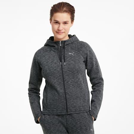 Evostripe Full-Zip Women's Hoodie, Puma Black-Heather, small