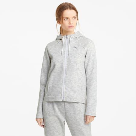 Evostripe hoodie met volledige ritssluiting dames, Puma White-Heather, small