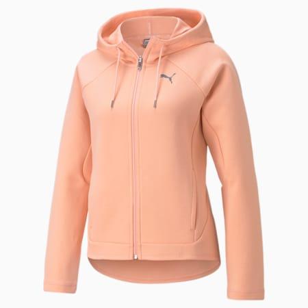 Evostripe Full-Zip Women's Hoodie, Apricot Blush, small