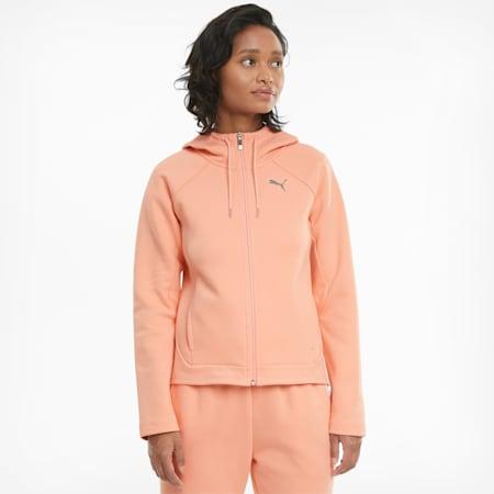 Evostripe hoodie met volledige ritssluiting dames, Apricot Blush, small