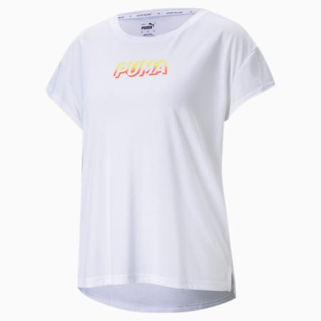 Modern Sports Women's Relaxed T-shirt, Puma White-Celandine, small-IND