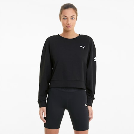 Modern Sports Crew Neck Women's Relaxed Sweater, Puma Black, small-IND
