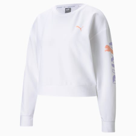 Modern Sports Crew Neck Women's Relaxed Sweater, Puma White, small-IND