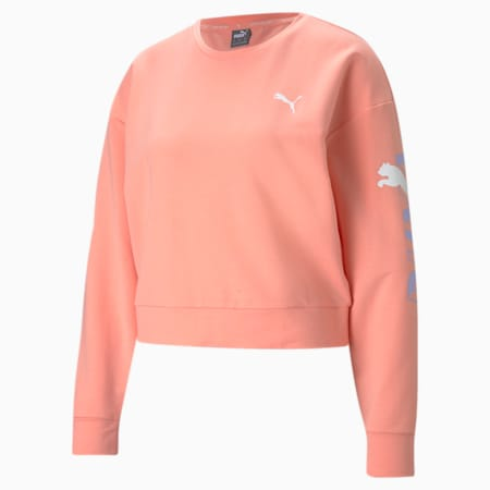 Modern Sports Crew Neck Women's Relaxed Sweater, Apricot Blush, small-IND