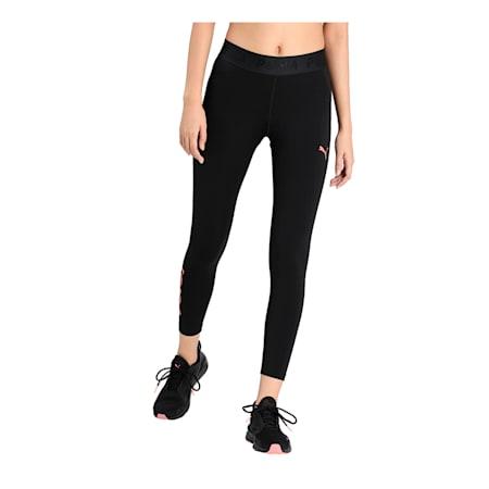 Modern Sports Women's Leggings, Puma Black-Georgia Peach, small-IND
