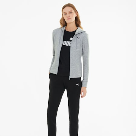 Classic Hooded Women's Tracksuit, Light Gray Heather, small