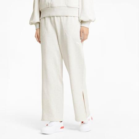 Pantalones deportivos HER Wide para mujer, Puma White Heather, small