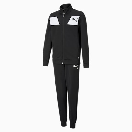 Polyester Youth Tracksuit, Puma Black, small-GBR