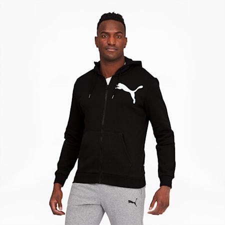 Big Logo Men's Full Zip Back Hoodie, Cotton Black, small