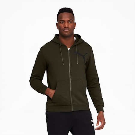 Big Logo Men's Full Zip Back Hoodie, Forest Night, small