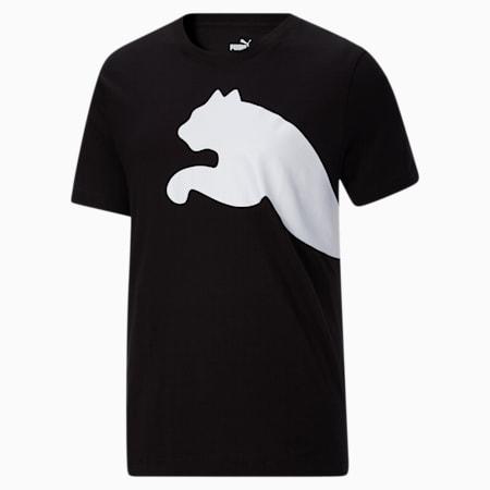 Camiseta con logotipo extragrande para hombre, Puma Black, pequeño