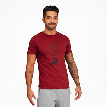 Amplified Men's Stack Logo Tee, Red Dahlia, small