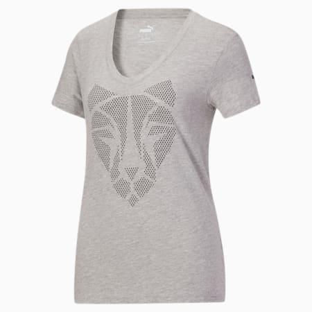 T-shirt à imprimé Cat, femme, Gris bruyère clair, petit