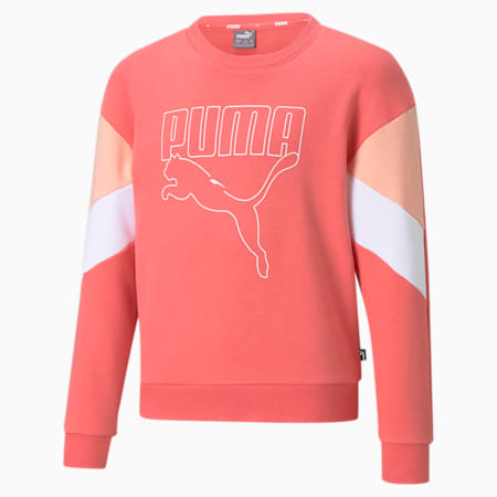 Rebel Crew Neck Youth Sweater, Sun Kissed Coral, small