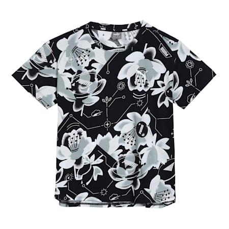 Alpha Printed Kid's   T-shirt, Puma Black-AOP, small-IND
