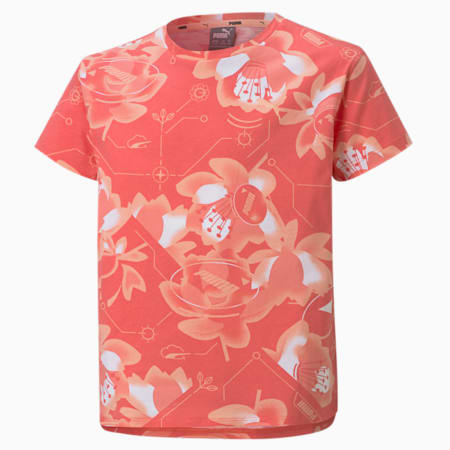 Alpha Printed Youth Tee, Sun Kissed Coral, small