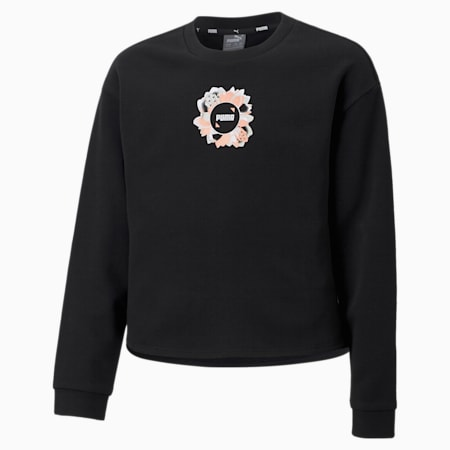 Alpha Crew Youth Sweatshirt, Puma Black, small-SEA