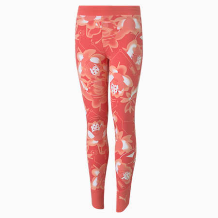 Alpha Printed Youth Leggings, Sun Kissed Coral, small-GBR