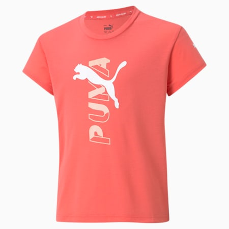 Modern Sports Logo Youth Tee, Sun Kissed Coral, small