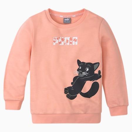 Paw Crew Neck Kids' Sweatshirt, Apricot Blush, small-SEA