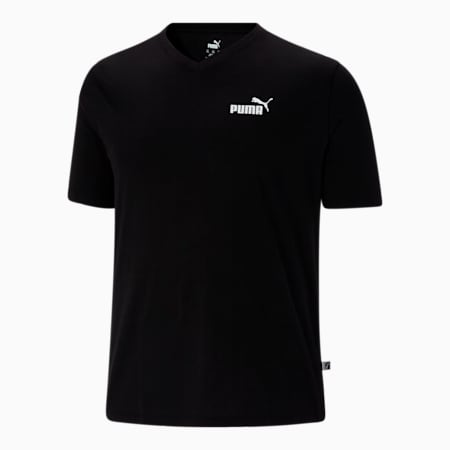 Camiseta con cuello en V Essentials+ BT para hombre, Cotton Black, pequeño