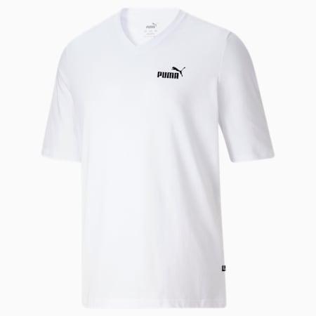 Camiseta con cuello en V Essentials+ BT para hombre, Puma White, pequeño